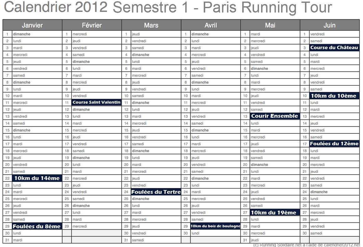Running solidaire paris running tour 2012 le - Calendrier salon paris ...